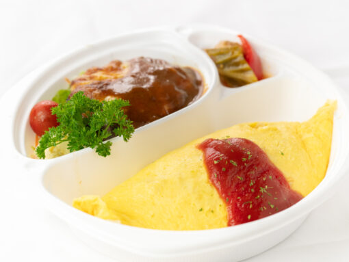 デミグラスチーズハンバーグ&オムライス1