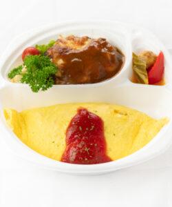 デミグラスチーズハンバーグ&オムライス3